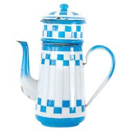 1930s French Enamel Coffee Pot - Blue and White Checker Lustucru Pattern