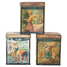 3 Antique French Kitchen Tins - Early 1900s - Unique and Rare - Shabby Chic Kitchen