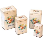 1920s French Tin Nesting Canisters - Set of 4 - Shabby Chic Ivory