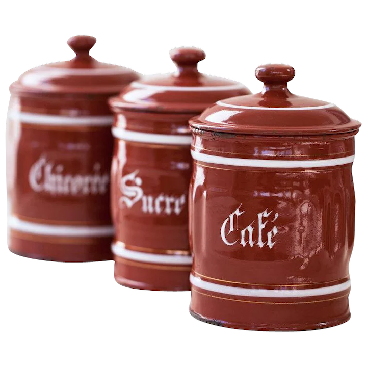 1940s Vintage French Enamel Kitchen Canisters Set Of 3 Burgundy Coffee Sugar And Chicory