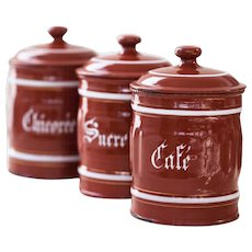 1940s Vintage French Enamel Kitchen Canisters Set of 3 - Burgundy - Coffee, Sugar and Chicory
