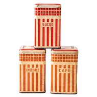 1930s French Tin Canisters - Set of 3 - Art Deco Red - Coffee, Sugar and Chicory