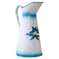1940s French Enamel Pitcher - White, Turquoise and Flowers - Excellent condition