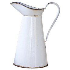 1940s Enamel French Enamel Water Pitcher - Country Chic White