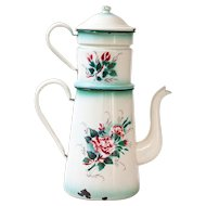 1930s French XL Enamel Coffee Pot - Hand Painted Roses