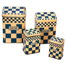 1930s French Tin Nesting Canisters - Lustucru Checkered Pattern - Cream and Blue