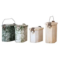 1930s French Enamel Lunch Boxes - Country and Rustic Decor - Sold Individually