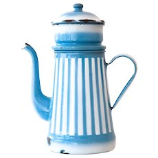 1940s Enamel Coffee Pot / Biggin - Made in Belgium - Blue and White Stripes