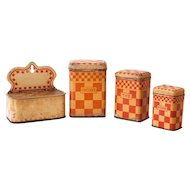 1930s French 3 Tin Canisters and Matches Box - Lustucru Checkered Pattern - Cream and Red