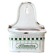 Vintage French Large Enamel Matches Box - Art Deco 1930s - BB Frères White