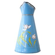 Gorgeous Vintage French Japy Enamel Pitcher - Blue and Dafodils Flowers - Art Nouveau Style