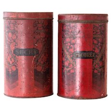 1950s French Large Kitchen Tin Cans - Sugar and Chicory - Burgundy and Black - Industrial and Rustic Decor