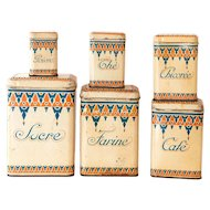 1930s French 6 Kitchen Tin Nesting Canisters - Art Deco Pattern - Shabby Chic Kitchen Decor