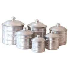 6 Vintage French Aluminum Kitchen Nesting Canisters - 1950s French Kitchen Tins - Country and Farmhouse Decor