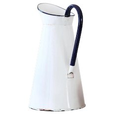Vintage French Enamel Water Pitcher - White with Blue Handle - Medium Size