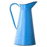 Vintage French Sky Blue Enamel Pitcher - Shabby Chic Decor