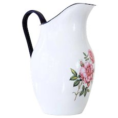 Small Vintage Enamel Pitcher - Shabby Chic White with Sweet Roses - Made in Poland