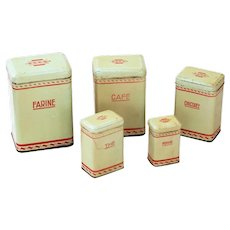 1930s French 5 Kitchen Tin Nesting Canisters - Pistachio Color - Art Deco