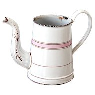 Lovely French Enamel Coffee Pot - No Lid - White and Pink - Shabby Chic Vase