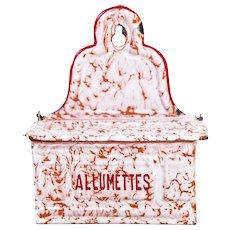 Antique French Enamel Matches Box - Art Deco 1930s - Graniteware Orange Red White