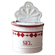 Antique French Enamel Salt Box - Art Deco 1930s - White and Red