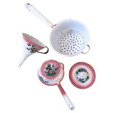 1920s French Japy Pink Enamel 4 Pieces Set - Shabby and Country Chic