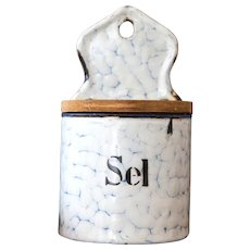1940s French Large Enamel Salt Box - Shabby Chic Graniteware