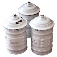3 French Vintage Enamel Canisters - Art Deco 1930s - Shabby Chic White
