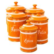 1930s French 5 Orange Enamel Canisters Set - Shabby Chic or Industrial Kitchen Nesting Canisters