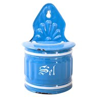 1930s French Enamel Kitchen Salt Box - Sel - Pretty Blue - Shabby Chic