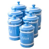 1930s French 6 Enamel Canisters - Sel - Pretty Blue - Shabby Chic