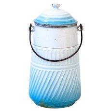 Vintage French Enamel Milk Pot - Art Deco 1920s - BB Frères / Torseine - Turquoise Blue