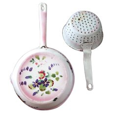 Vintage Set of French Enamel Pan and Colander - Pink and Pansies - Shabby Chic
