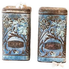 1930s French Kitchen Tin Canister - Set of 3 - Pasta / Salt / Rice - Lustucru - Country Decor