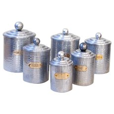 6 French Vintage Tin Canisters - Hammered Aluminum & Brass