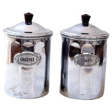 1950s French Chromed Copper Canisters - Coffee and Chicory - Midcentury Kitchen