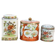 3 Pretty Vintage English Tins - Asian Theme - Orange and Light Blue- Country Chic Decor