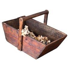 Vintage French Grape Trug - Grape Harvesting Wooden Basket - Panier de Vendange