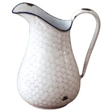 Vintage Small French Enamel Pitcher - White Graniteware