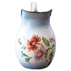 1940s French Enamel Water Pitcher - Japy - Pretty Flowers