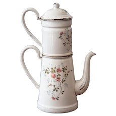 1920s French Enamel Double Coffee Pot - Pretty Sweet Heart Roses - BB Freres