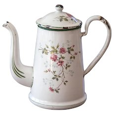 1920s French Enamel Coffee Pot - Pretty Sweet Heart Roses - BB Freres