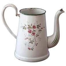 1920s French Enamel Topless Coffee Pot - Pretty Sweet Heart Roses - BB Freres