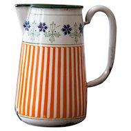 1920s French Enamel Pitcher - Cheerful Orange Stripes - BB Frères