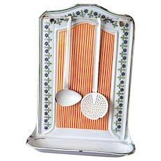 1920s French Enamel Utensil Holder - Cheerful Orange Stripes - BB Frères