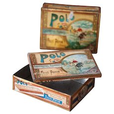 2 Antique French Cookies Tin - Felix Potin - Early 1900s - Polo Gaufrettes Fourrees au Praline - Shabby Chic Kitchen