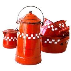 1930Ss French Enamel Milk Jar - Red / Orange with Checkered Pattern - Lustucru Pattern - French Country Kitchen Enamel