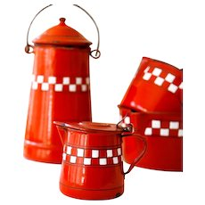 1930s French Enamel Milk Warmer - Red with Checkered Pattern - Lustucru Pattern - French Country Kitchen Enamel