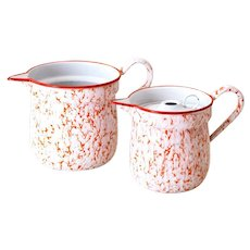 1930s French Enamel Water or Milk Pitchers - Set of 2 - Graniteware Orange Red White