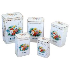1920s French 5 Kitchen Tin Nesting Canisters - Shabby Chic White